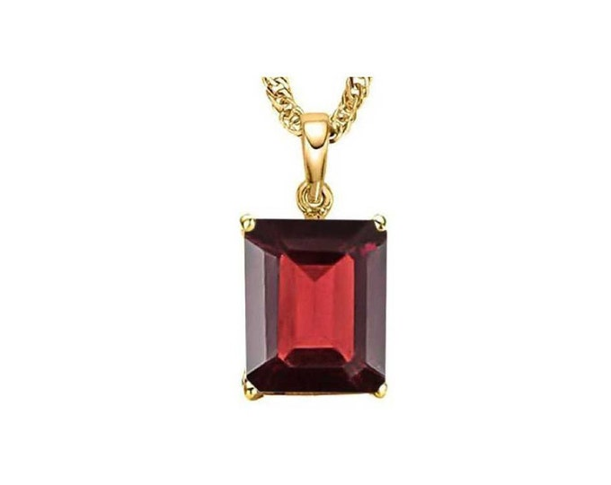 1.1 Carat Red Garnet Emerald Cut 10Kt Solid Yellow Gold Necklace Pendant Jewelry (Necklace Chain not Included)