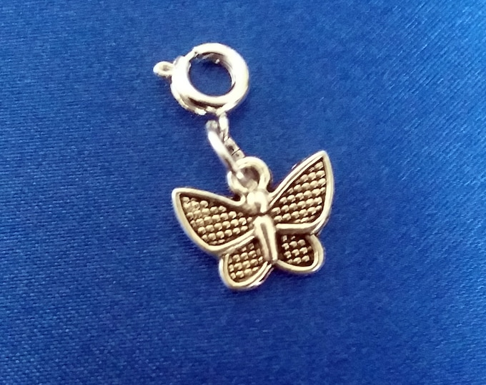 Butterfly Charm Antique Silver Bracelet Charms Necklace Pendant Jewelry Supplies Craft Projects Earrings Zipper Pull Earring