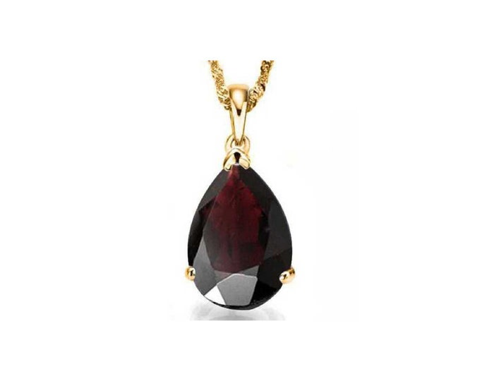 0.9 Carat Dark Red Garnet Pear Cut 10Kt Solid Yellow Gold Necklace Pendant Jewelry (Necklace Chain not Included)