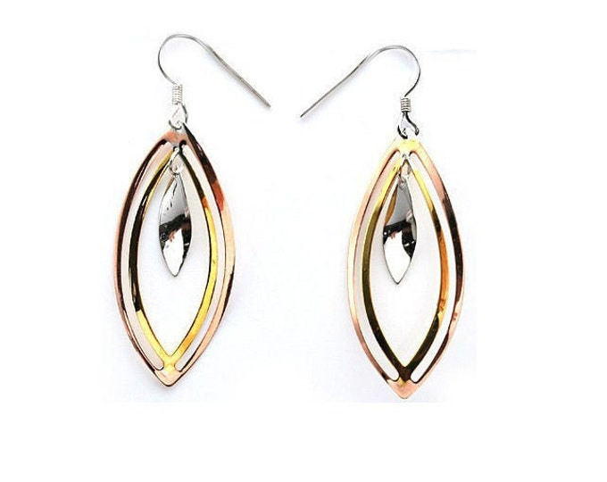 Tri Colored Dangle Earrings 925 Sterling Silver Drop Earring French Hook Ear Wires Fashion Jewelry