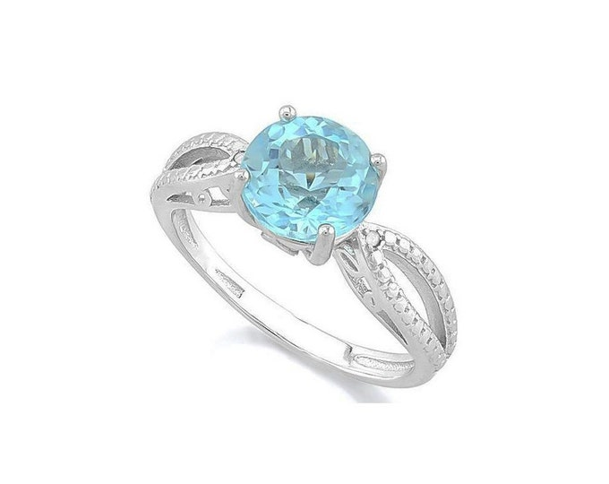 2 1/2 Ct Baby Swiss Blue Topaz & Diamond Sterling Silver Ring - 925 Engagement Ring – Cocktail Ring – Statement Ring - Estate Jewelry Size 7