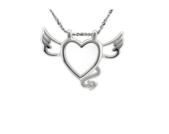 Beautiful White Topaz Winged Heart Pendant Necklace 925 Sterling Silver Estate Jewelry