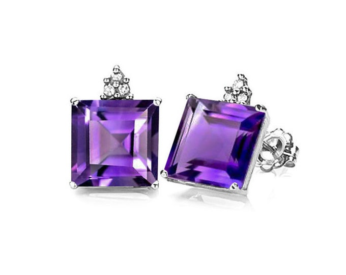 1.72 Ct Purple Amethyst and Diamond Earrings 10K Solid White Gold Stud Earring Floral Lavender Gemstone Estate Jewelry Women Gift Birthday