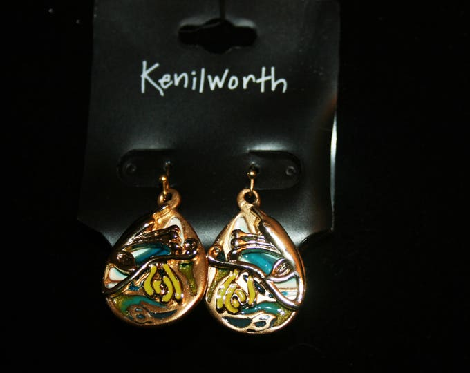 Vintage Kenilworth Creation Earrings Copper Silver Tone with Green & White Enamel Capwell Jewelry Drop Dangle Earring