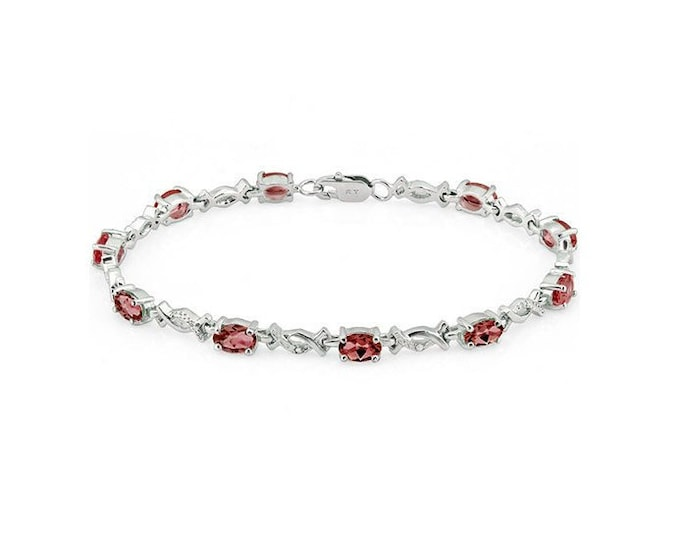 6.19 Ct Garnet & Diamond Sterling Silver Bracelet 925 Gemstone Estate Statement Jewelry