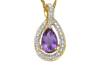 Beautiful 1.70 Ct Amethyst and 1/5 Ct Diamond Sterling Silver Pendant on a 18 Inch Rope Chain Necklace Estate Gemstone Jewelry