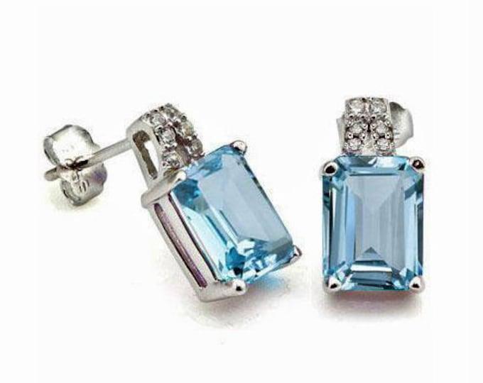 2 2/3 Carat Blue Topaz and Diamond Earrings Sterling Silver 925 Gemstone Estate Jewelry Earring TG-BSB-Topaz01-925