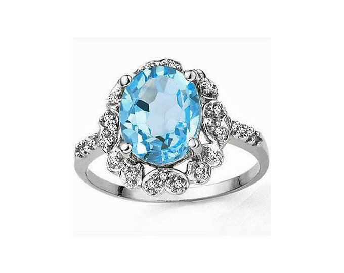 Elegant 3.2 Ct Sky Blue Topaz & Diamonds Platinum over 925 Sterling Silver Ring TG-BT01-P925 Gemstone Estate Jewelry