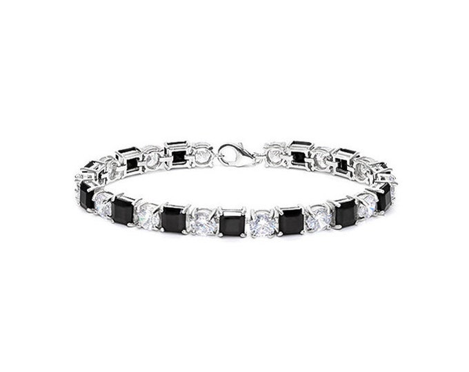 26.39 Ct Created Black Sapphire and 22.00 Ct CZ Cubic Zirconia Sterling Silver Tennis Bracelet 925 Gemstone Estate Statement Jewelry