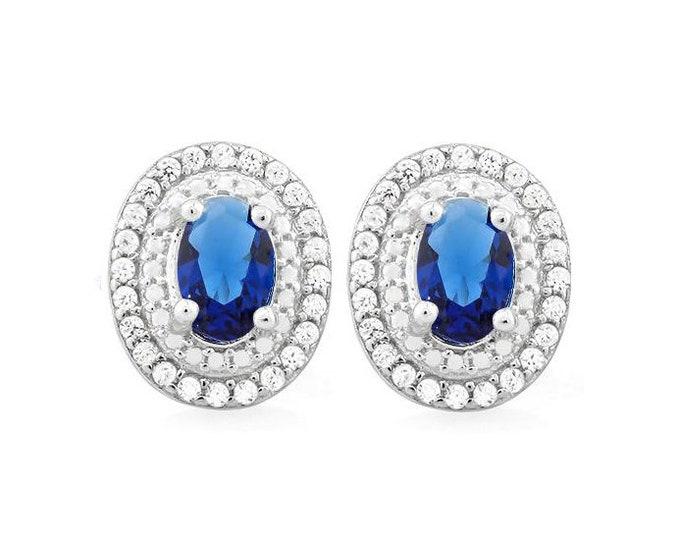 2 Ct Created Blue Sapphire & 3/5 Ct Created Diamond 925 Sterling Silver Earrings – TG-CBS01-925 Diamonds Earring
