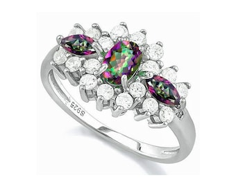 Dazzling .74 Ct Mystic Topaz Gemstones 925 Sterling Silver Ring Surrounded by Created White Sapphires & Genuine Diamonds Size 7