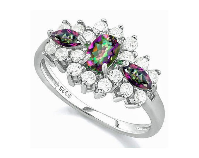 Dazzling .74 Ct Mystic Topaz Gemstones 925 Sterling Silver Ring Surrounded by Created White Sapphires & Genuine Diamonds TG-MTWSDi-925