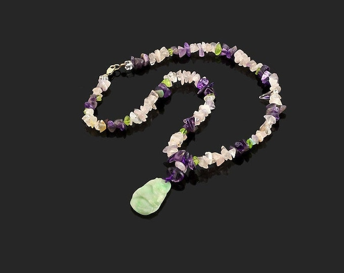 Natural Hand Carved Jade with Multi Color Gemstone Necklace Amethyst Quartz Gemstones Gift Women Birthday Mother Christmas Jewelry