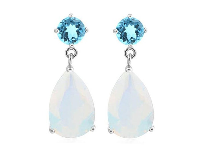 2 Ct Sky Blue Topaz & 7 4/5 Ct Created Fire Opal Earrings 925 Sterling Silver Earring – BSBT-FO-925