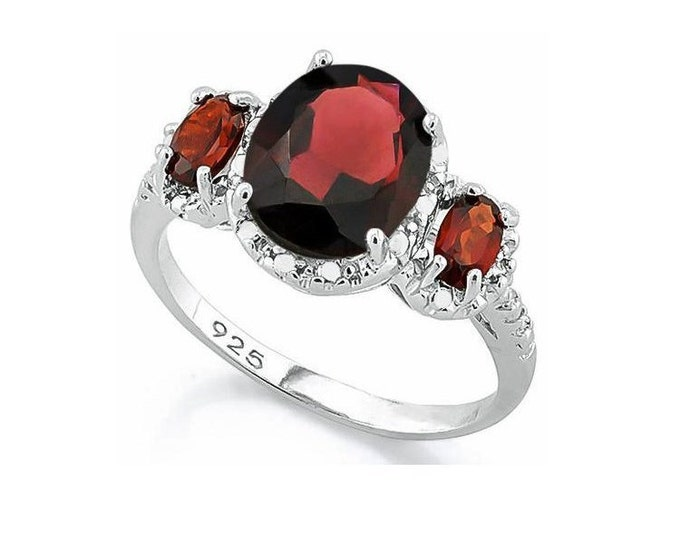 Gorgeous 3.5 Ct Garnet and Diamond Sterling Silver Ring, 925 Gemstone Estate Jewelry, TG-GarDi02-925