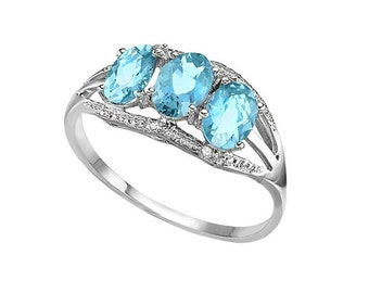 1.96 Ct Sky Blue Topaz and Diamond 10Kt Solid White Gold Ring Baby Swiss Blue Gemstone Statement Cocktail Ring Estate Jewelry Size 8