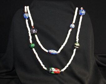 Vintage Hand Carved and Glass Bead Puka Shell Lei / Hawaiian / Tribal Necklace circa 1960 Island Jewelry ku-uipo