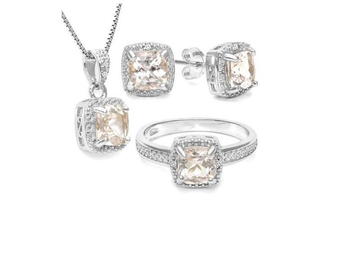 3 1/3 Carat Morganite & Diamond Ring Pendant Necklace and Earring Sterling Silver Set 925 Gemstone Estate Jewelry Size 7 US Ring