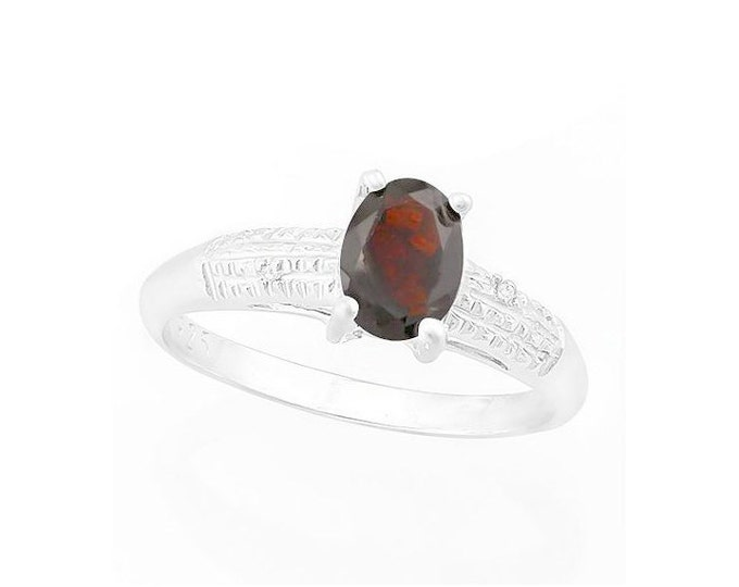 4/5 Ct Red Garnet & Diamond Sterling Silver Ring, 925 Gemstone Cocktail Statement Ring Estate Jewelry Size 7