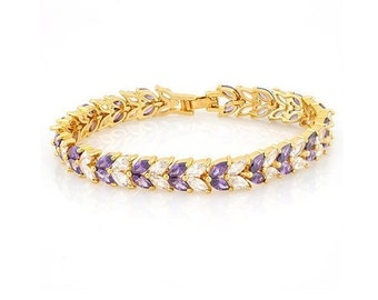 11 Ct Created Amethyst and 10 Ct Created White Topaz 18 Kt Gold Plated German Silver Bracelet Gemstone Estate Statement Jewelry