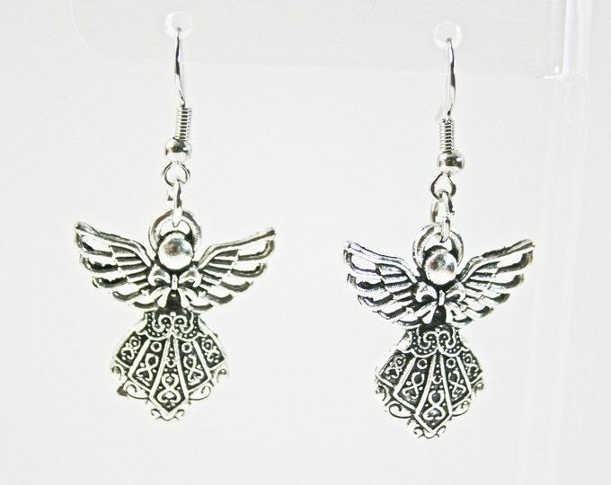 Guardian Angel Earrings Antique Silver Tone Charms Earring Angels Charm Earring