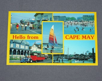 Vintage Hello from Cape May NJ Postcard Unused Photochrome Postcards Jack Freeman Inc. 1950's / 1960's Post Card Fisherman's Wharf