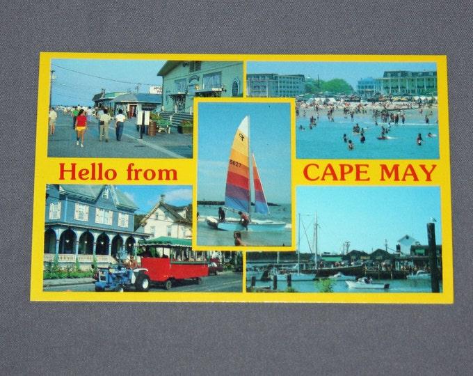 Vintage Hello from Cape May NJ Postcard Unused Photochrome Postcards Jack Freeman Inc. 1950's / 1960's Post Card Fisherman's Wharf