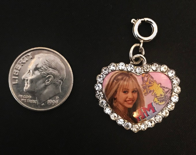 Disney Hannah Montana Crystal Heart Charm Bracelet Charms Necklace Earring Charm DIY Jewelry or Craft Supplies Charm It