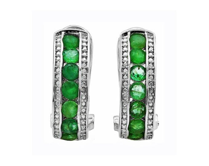 Genuine Emerald & Diamond French Back Earrings Platinum Over 925 Sterling Silver Earring - 1.692 Carats TW - TG-EMDI-P925