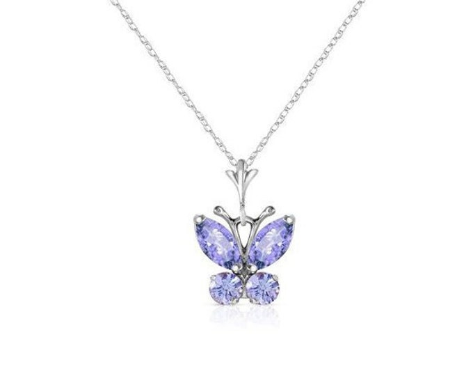 0.60 Carat Tanzanite Butterfly Pendant with 14K Solid White Gold Rope Chain Necklace – Gemstone Estate Jewelry