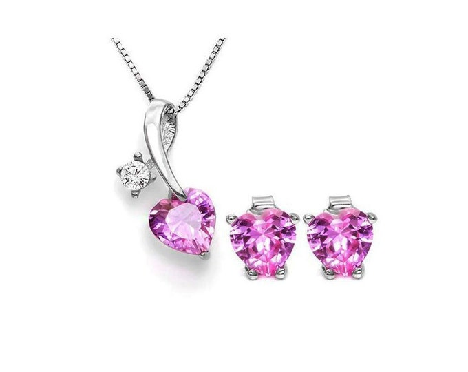 3.4 Carat Created Pink Sapphire & White Topaz Pendant Necklace and Earring Sterling Silver Set 925 Estate Jewelry Earrings