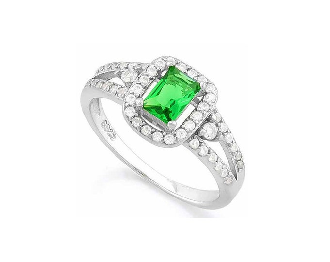 2/3 Ct Created Emerald & 1/2 Ct Cubic Zircon CZ Sterling Silver Halo Ring 925 – Cocktail Ring – Statement Ring - Estate Jewelry Size 7