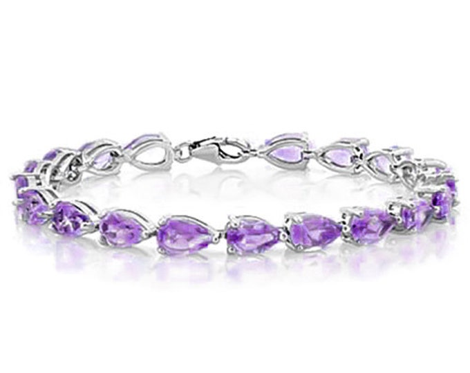 12.18 Ct Amethyst Bracelet Sterling Silver Tennis Bracelet 925 Pear Cut Gemstone Estate Statement Jewelry Purple Gift Women Birthday