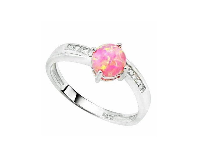2/5 Carat Created Pink Fire Opal and Genuine Diamonds Sterling Silver Ring 925 – Cocktail Ring – Statement Ring - Estate Jewelry Size 7