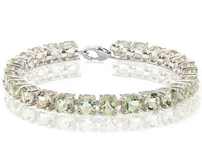 25.24 Ct Green Amethyst Bracelet Sterling Silver Tennis Bracelet 925 Gemstone Estate Statement Jewelry Gift Women Birthday