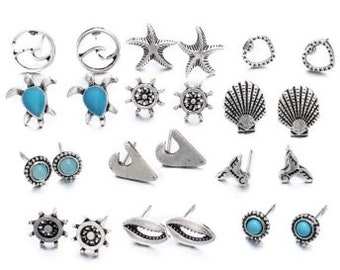 12 Earring Sets of Beach Ocean Themed Earrings in 18K Gold Plated German Silver Fashion Jewelry Turtle Star Fish