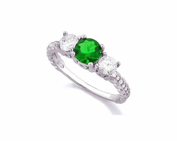 1.2 Ct Created Emerald & Created Topaz Sterling Silver Ring 925 Engagement Ring Wedding Band Statement Ring Estate Jewelry Size 7