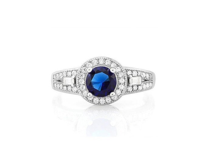1 Carat Created Blue Sapphire Sterling Silver Ring 925 – Cocktail Ring – Statement Ring - Estate Jewelry Size 8