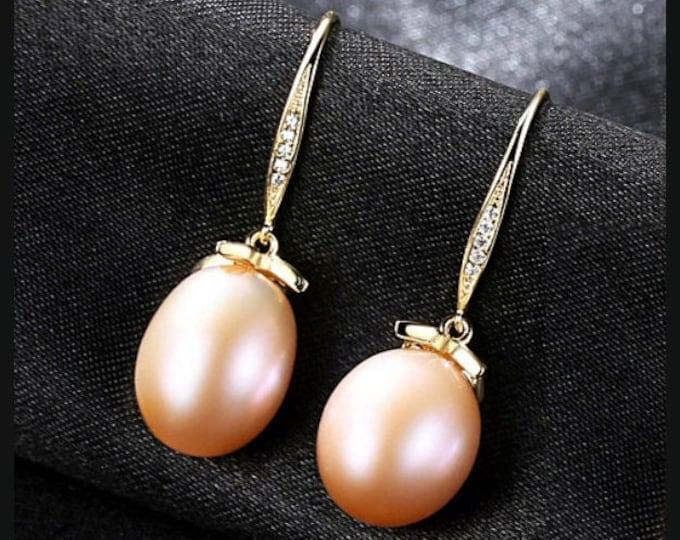 Natural Freshwater Pink Pearl & Created Diamond Earrings Sterling Silver - 925 Gemstone Estate Jewelry Drop - Dangle Earring Wedding Bride