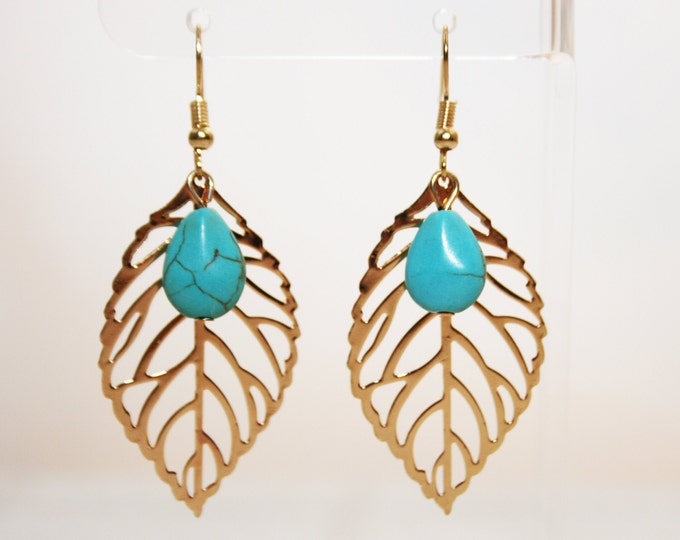 Turquoise Stones and Golden Leaf Earrings Boho Jewellery Fashion Jewelry Earring Gemstone Jewelry, December Birthstone French Hooks