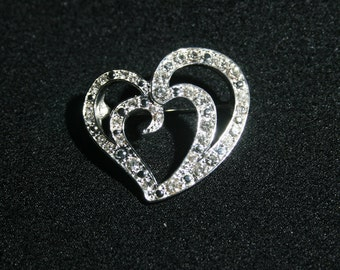 Vintage Liz Claiborne White Diamond Rhinestone Heart Brooch Jewelry Pin Circa 1980's Crystal Costume Jewelry