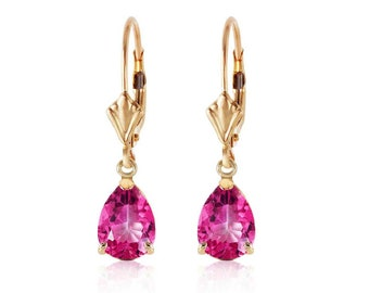 2.85 Ct Pink Topaz 14K Solid Yellow Gold Lever Back Earrings – Gemstone Estate Jewelry