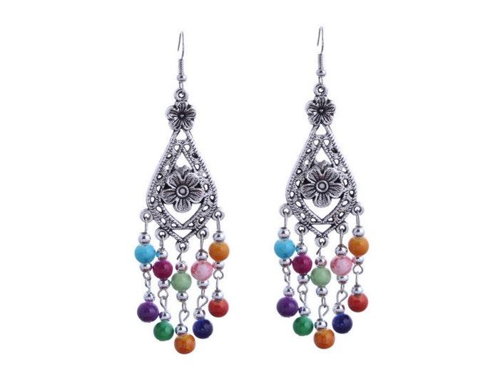 Turquoise Flower Chandelier Dangle Earrings Boho Jewellery Fashion Jewelry Earring Gemstone Jewelry, December Birthstone French Hooks