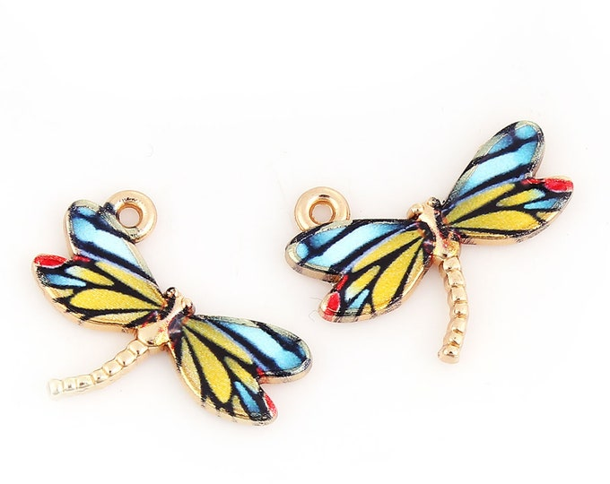 2 Enamel Dragonfly Charm Set of 2 Gold Plated Bracelet Charms Necklace Pendants Jewelry Supplies Craft Projects Earrings Beads Earring