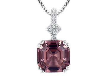 Elegant Brazilian Morganite Pendant Necklace with 5A Cubic Zirconia CZ 925 Sterling with 18 Inch 925 Box Chain Gift Women Birthday