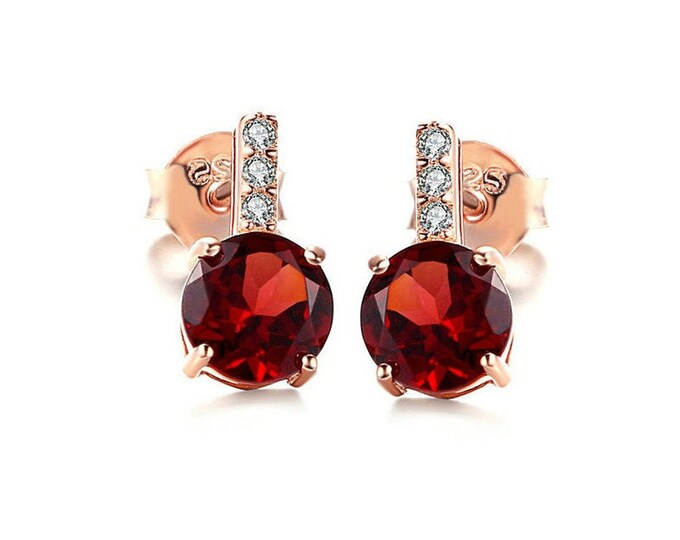 1.68 Ct Garnet and Cubic Zirconia CZ Earrings 925 Rose Gold Plated Sterling Silver Stud Earring Estate Jewelry Gemstone Gift Women Birthday