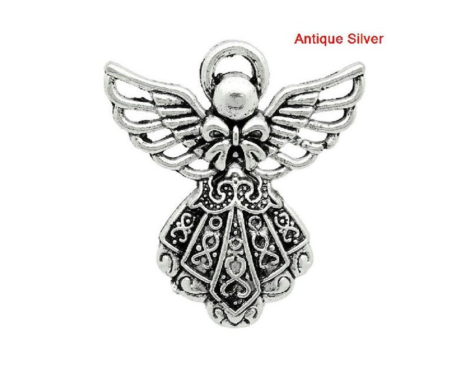 Bulk 10 Guardian Angel Necklace Pendant Antique Silver Bracelet Charm Necklace Jewelry Supplies Charms Craft Zipper Pulls Stitch Marker