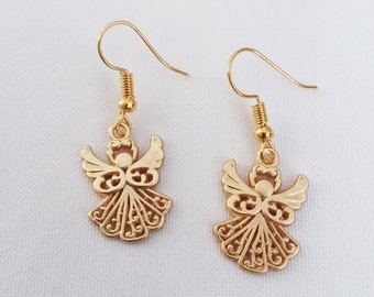 Golden Guardian Angel Earrings Gold Plated Charms Earring Angels Charm Earring