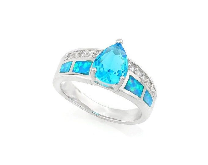 3.40 Ct Created Blue Topaz and Created Blue Opal Sterling Silver Ring 925 Gemstone Estate Jewelry Statement Ring Cocktail Ring Size 7 US