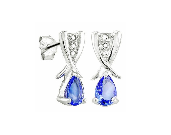 0.63 Ct Pear Cut Tanzanite Sterling Silver Stud Earrings – 925 Gemstone Estate Jewelry Earring